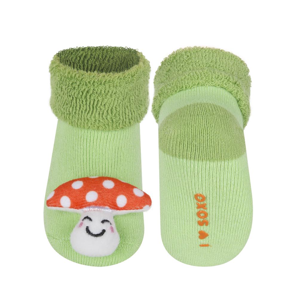 37a0198948c Kojenecké ponožky s chrastítkem SOXO MUCHOMŮRKA zelené Velikost  16-18