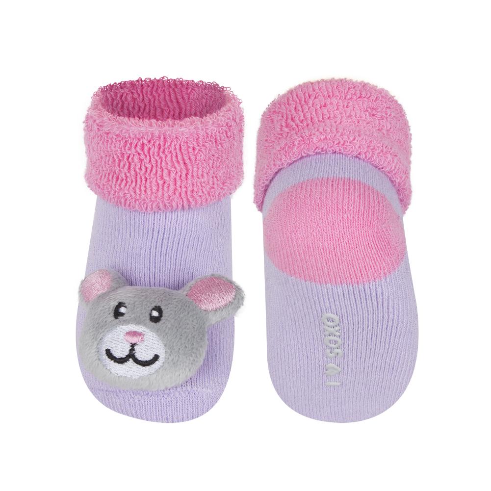c6f0abb3faf Kojenecké ponožky s chrastítkem SOXO MYŠKA fialové Velikost  16-18