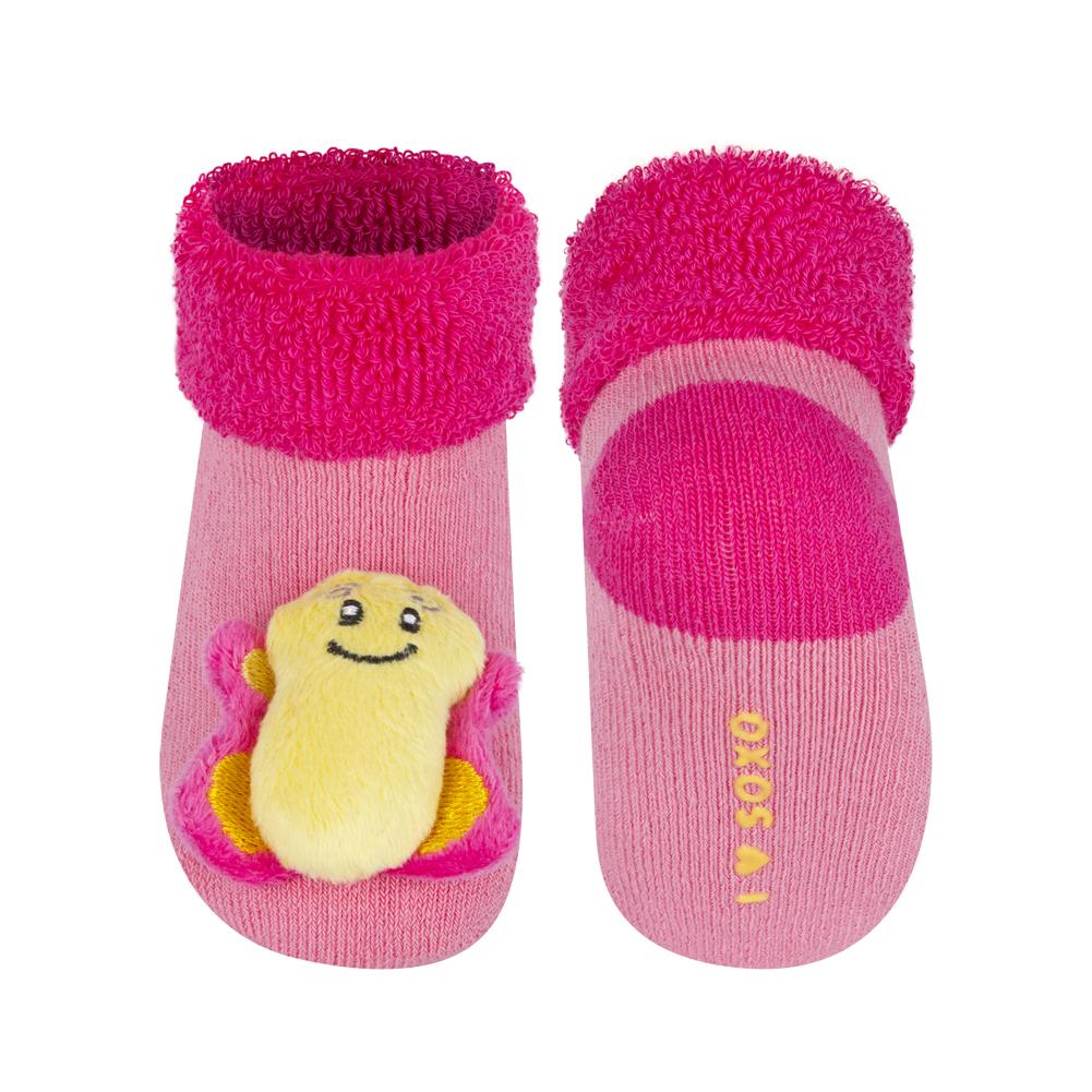 420d37b07b7 Kojenecké ponožky s chrastítkem SOXO MOTÝLEK růžové Velikost  16-18