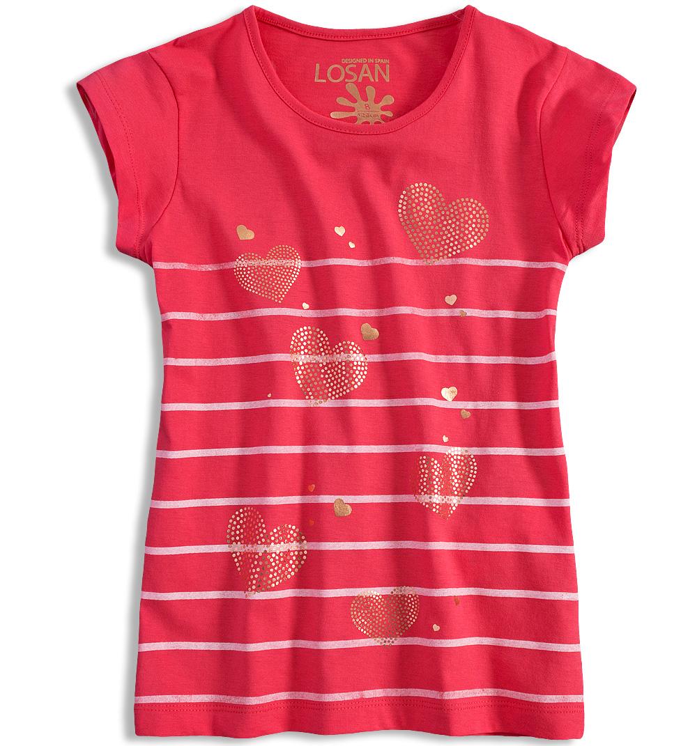 Dívčí tričko LOSAN SRDCE růžové Velikost  152 5cb7a5bf50