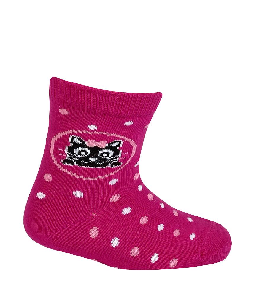 2c79a3c82ce Vzorované dívčí ponožky GATTA KOŤÁTKO tmavě růžové Velikost  15-17