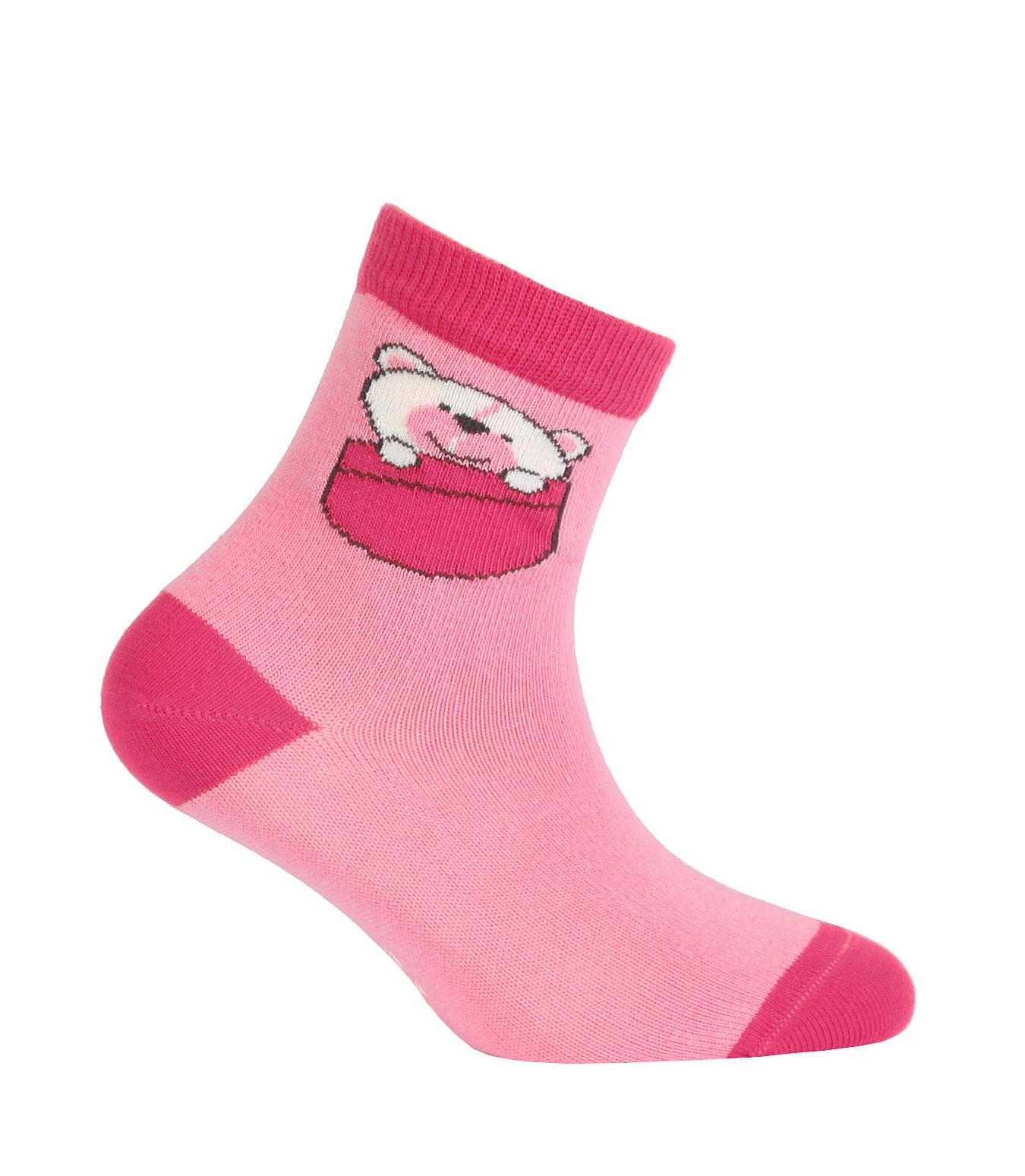 Vzorované dívčí ponožky GATTA MEDVÍDEK růžové Velikost  24-26 88f170ae0f