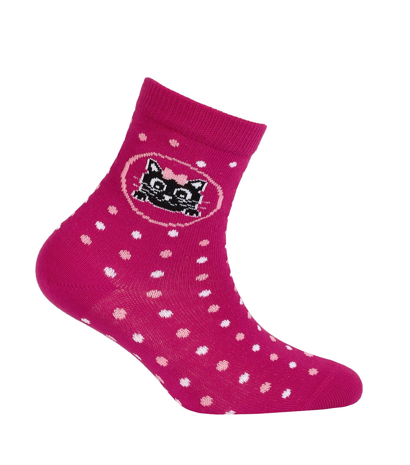 Vzorované dívčí ponožky GATTA KOŤÁTKO tmavě růžové Velikost  24-26 5f13b1ed1d