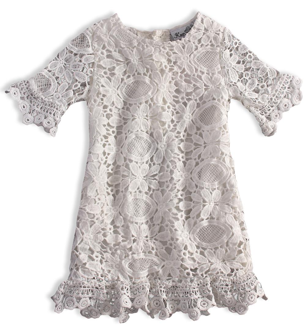 Dívčí krajkové šaty KNOT SO BAD KRAJKA bílé Velikost: 164