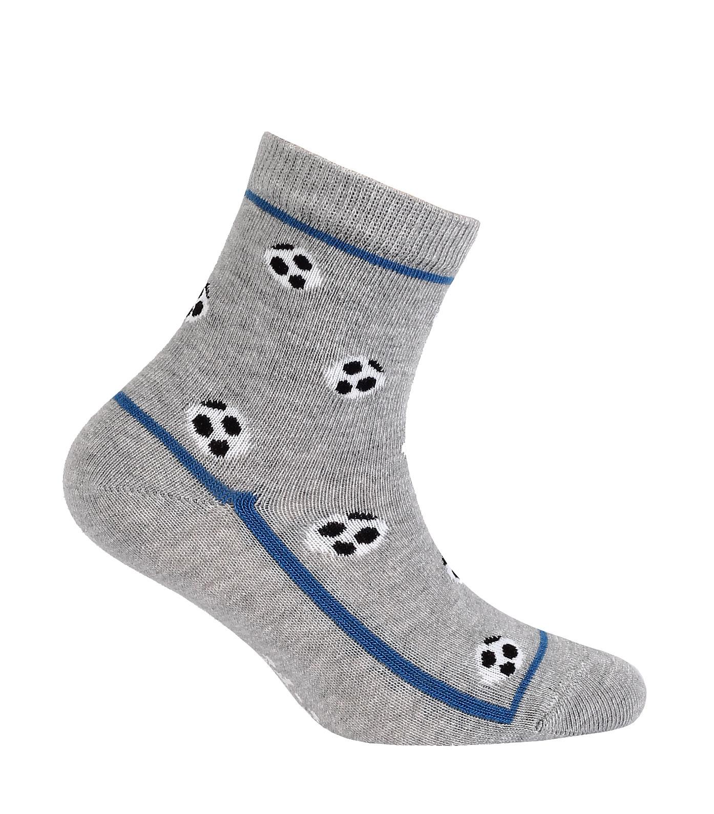 Chlapecké ponožky s obrázkem WOLA MÍČE šedé Velikost: 21-23