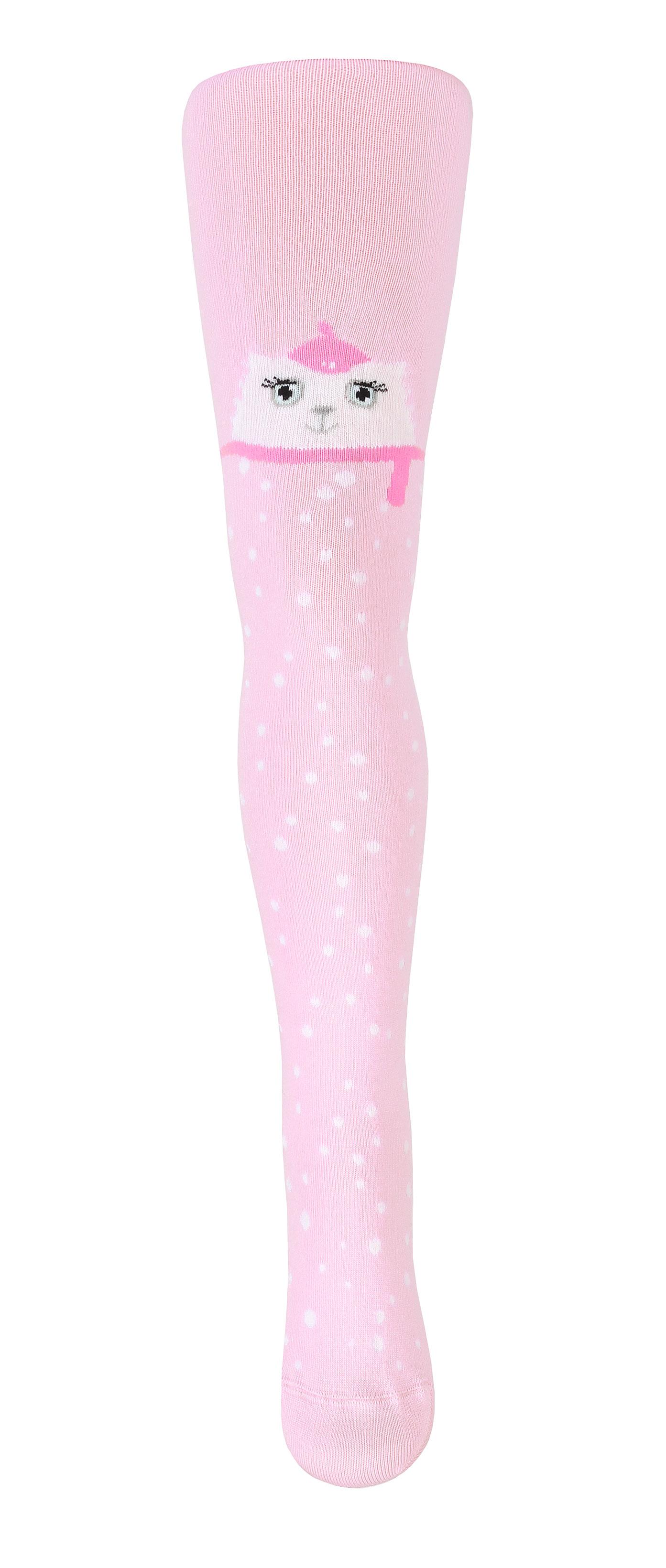 Dětské vzorované punčocháče WOLA KOČIČKA růžové Velikost: 92-98