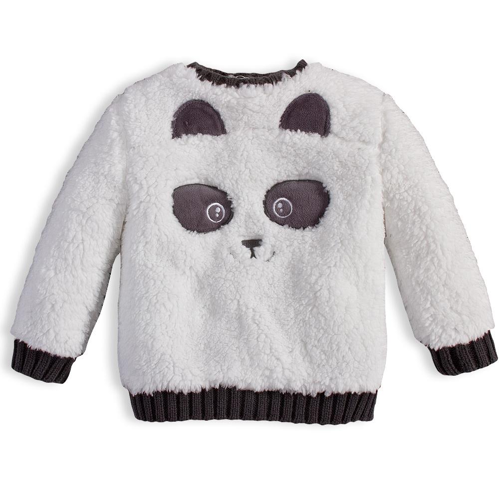 Dětská chlupatá mikina KNOT SO BAD PANDA bílá Velikost  56 38ca0c97b5