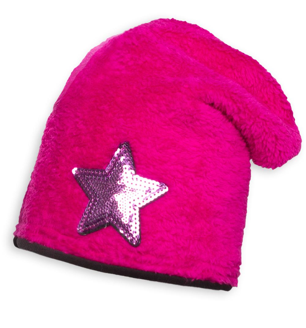 Dívčí zimní chlupatá čepice YETTY HVĚZDA růžová Velikost: 49-52 cm