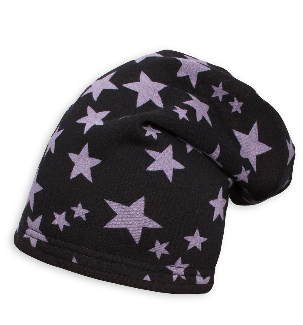 Dívčí zimní čepice YETTY HVĚZDY černá Velikost: 49-52 cm