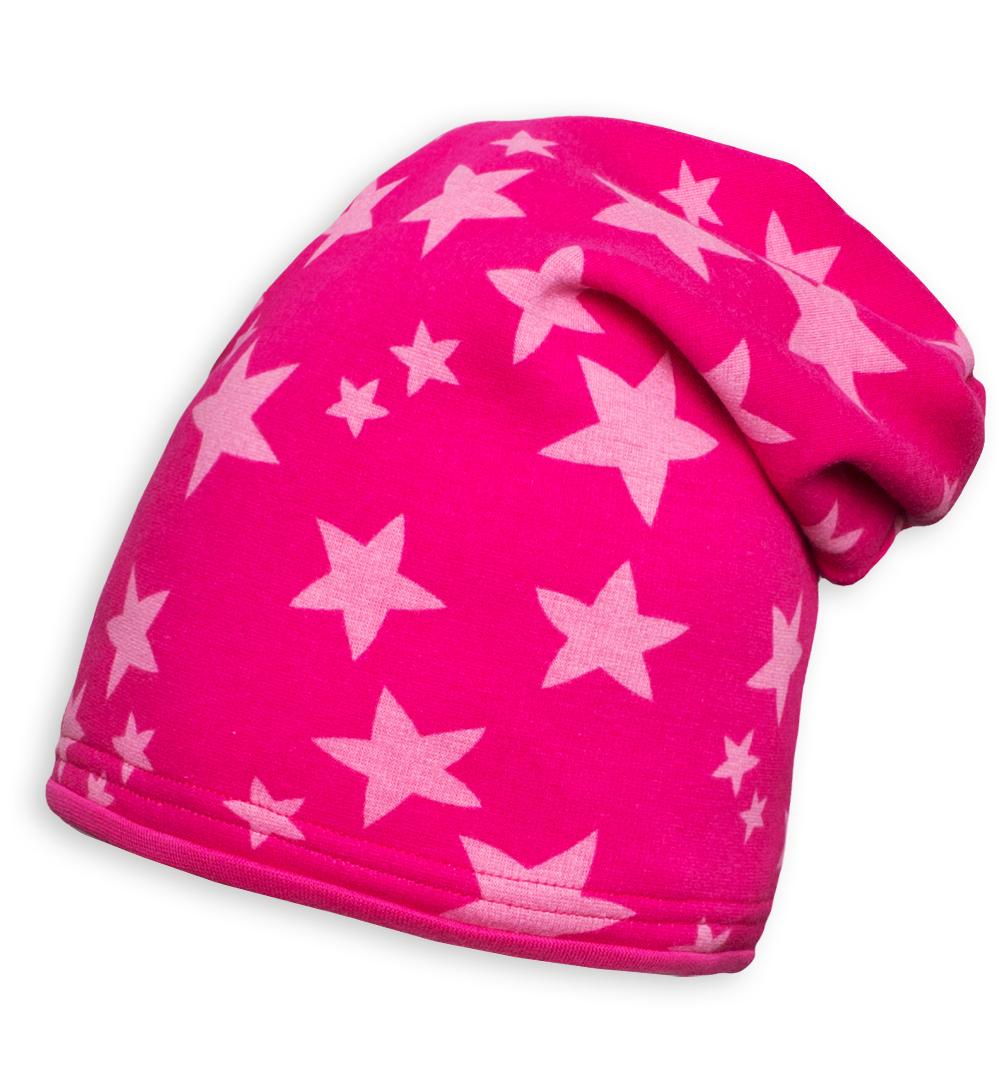Dívčí zimní čepice YETTY HVĚZDY růžová Velikost: 49-52 cm