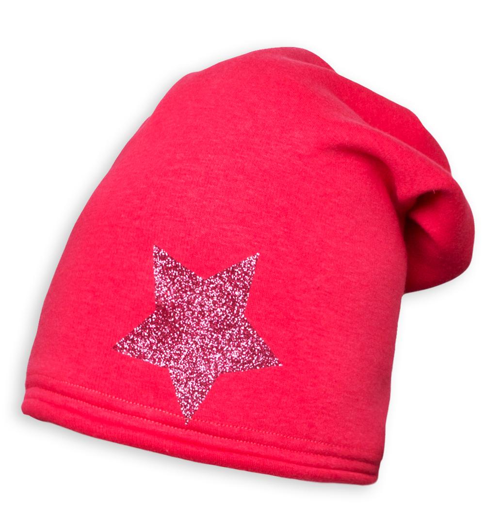 Dívčí zimní čepice YETTY HVĚZDA růžová Velikost: 49-52 cm