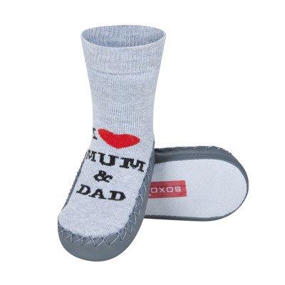 65e046aa500 SOXO Dětské ponožky s koženou podešví LOVE šedé Velikost  19-21