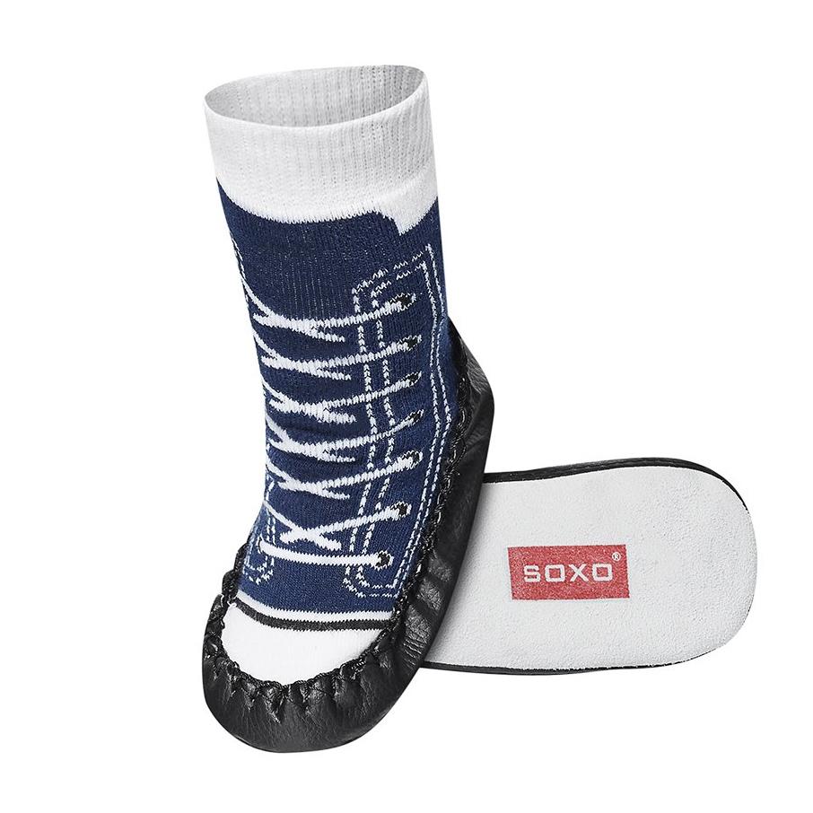 SOXO Dětské ponožky s koženou podešví TENISKY tmavě modré Velikost: 23-24