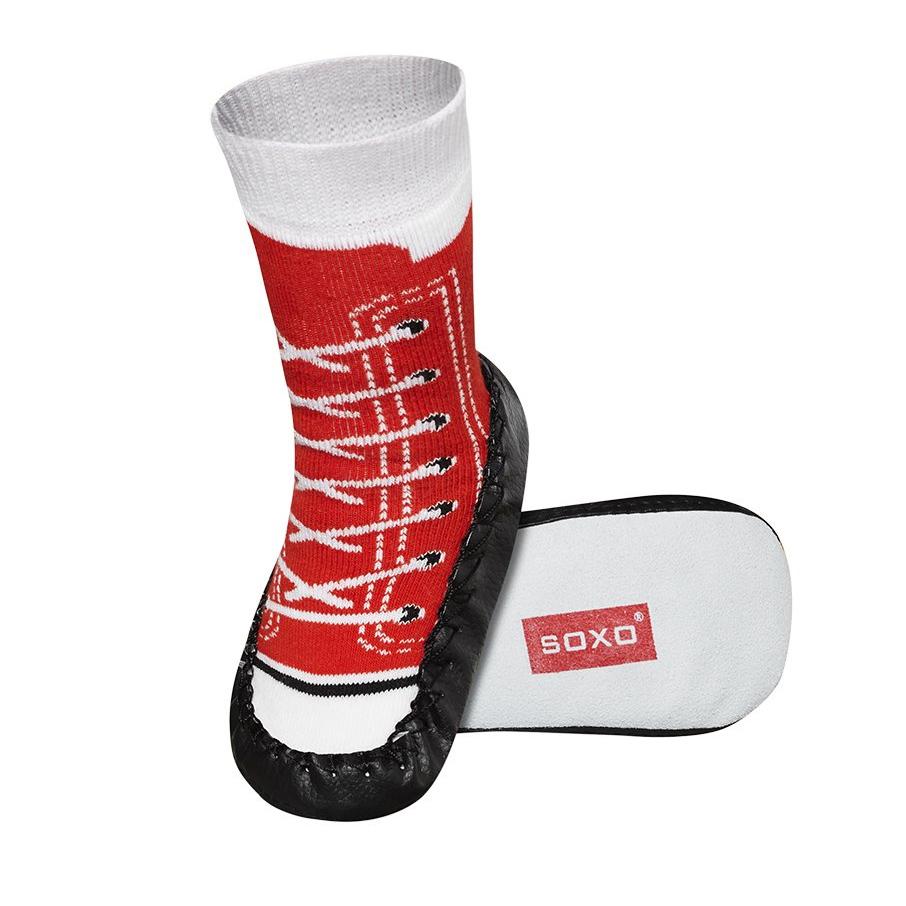 SOXO Dětské ponožky s koženou podešví TENISKY červené Velikost: 23-24