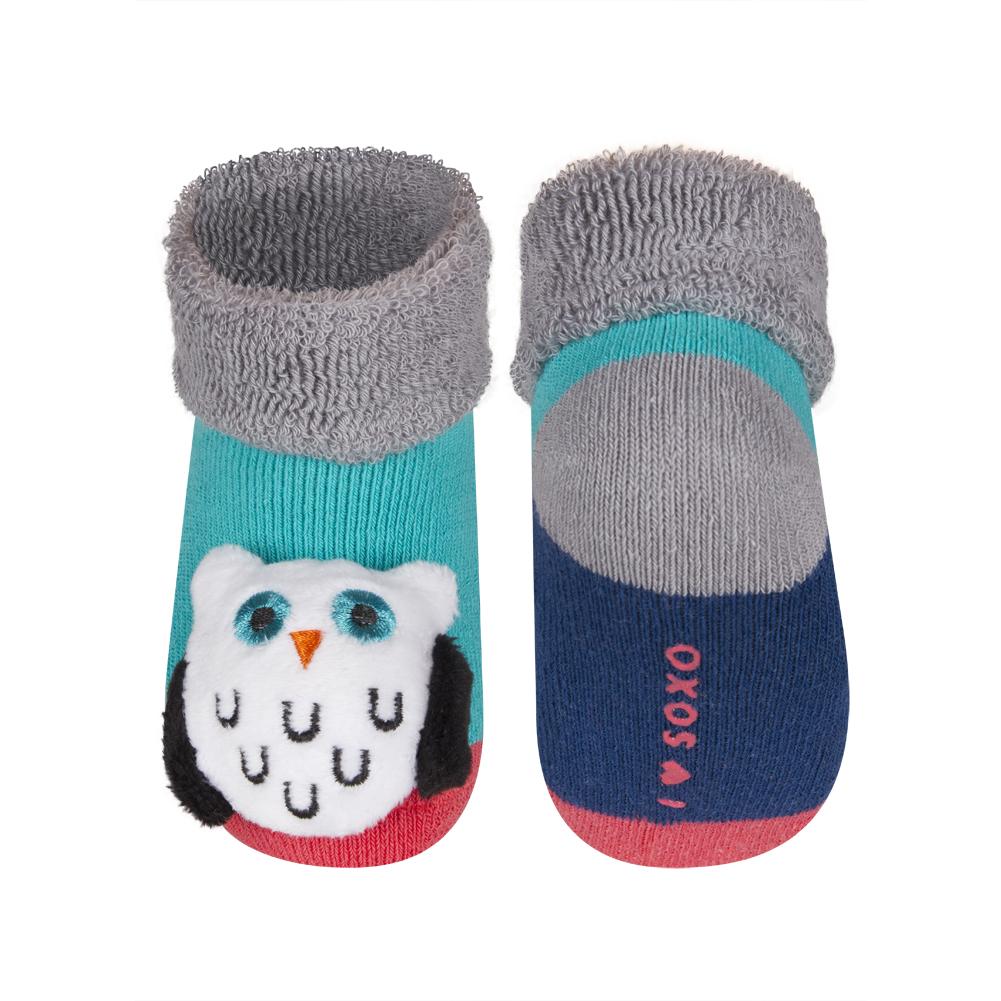 5de4d68a217 SOXO Kojenecké ponožky s chrastítkem SOVA zelené Velikost  16-18