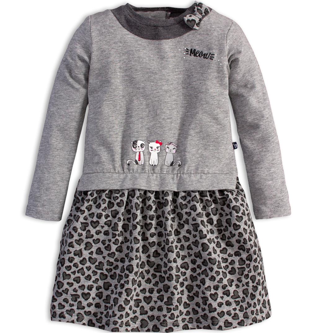 8e2356952324 Dívčí šaty s dlouhým rukávem Mix´nMATCH KOČIČKY šedé Velikost  92
