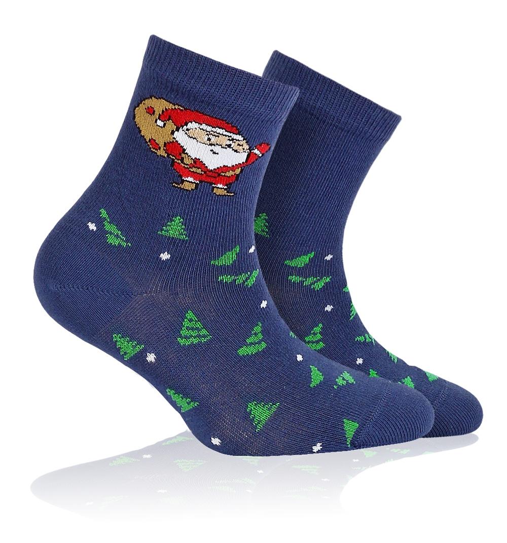 c24876942dc Dětské ponožky s vánočním vzorem WOLA SANTA CLAUS modré Velikost  21-23