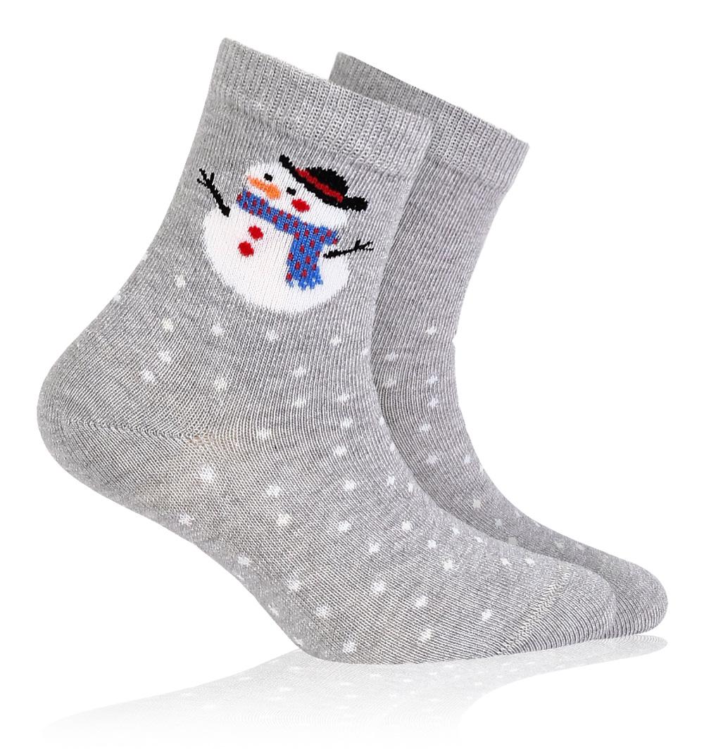 Dětské ponožky se zimním vzorem WOLA SNĚHULÁK šedé Velikost: 21-23