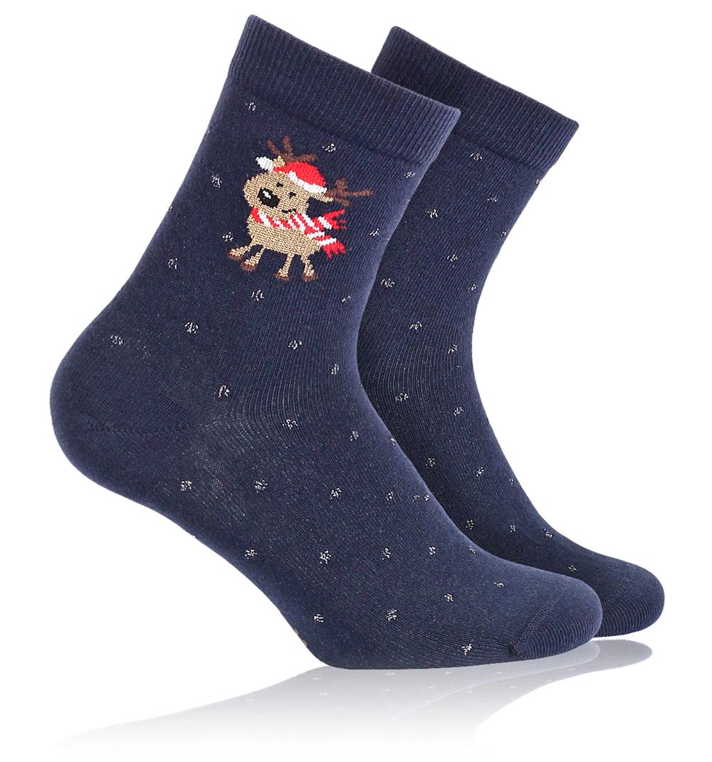 57cd2b33f70 Dětské ponožky se zimním vzorem WOLA SOBÍK modré Velikost  21-23