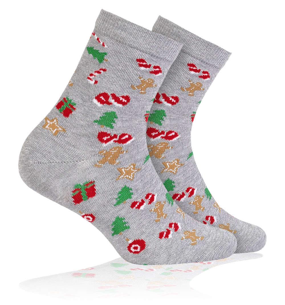 Dětské ponožky s vánočním motivem WOLA VÁNOCE šedé Velikost  27-29 1edcd85d27