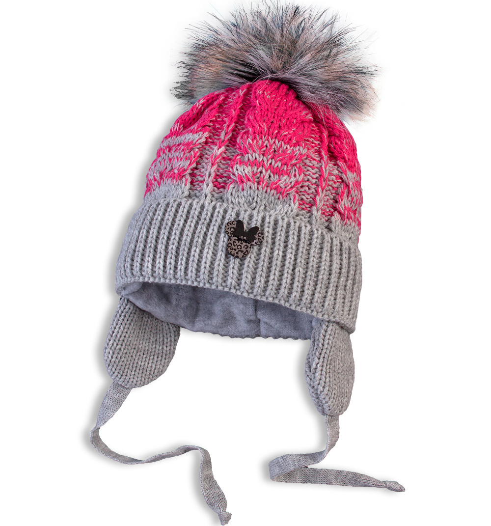 Kojenecká pletená zimní čepice DASTEL MINNIE tmavě růžová Velikost: 46-48