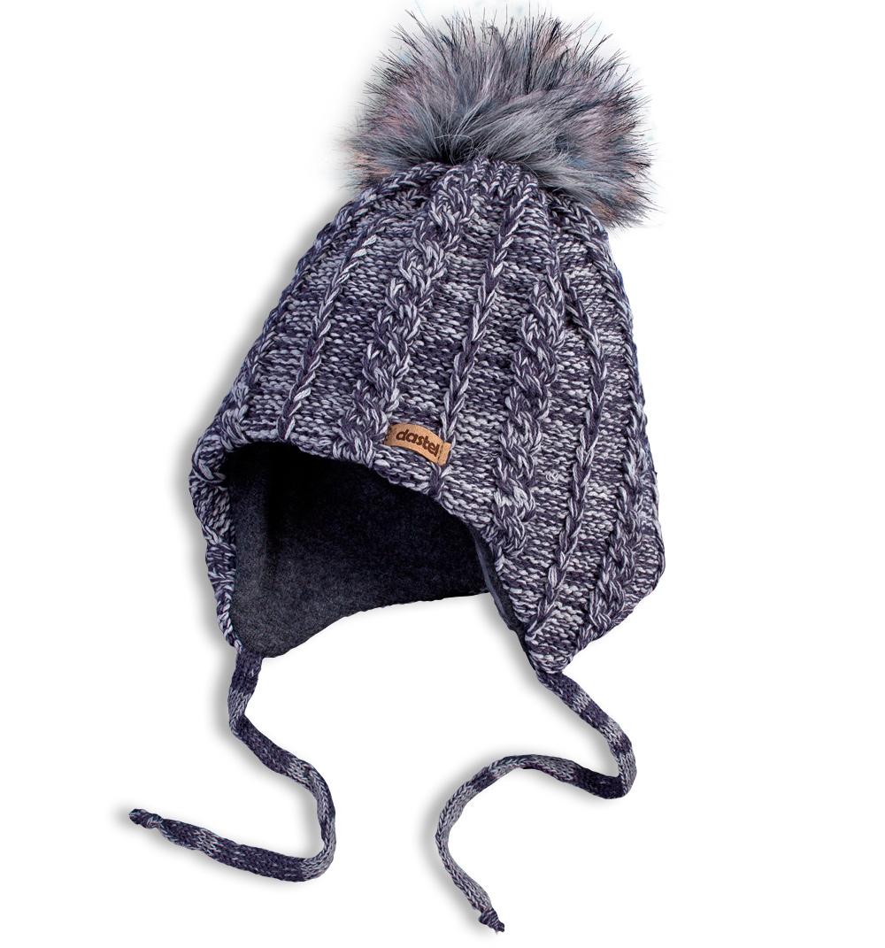 Dětská zimní pletená čepice DASTEL ECHO šedá Velikost: 50-52