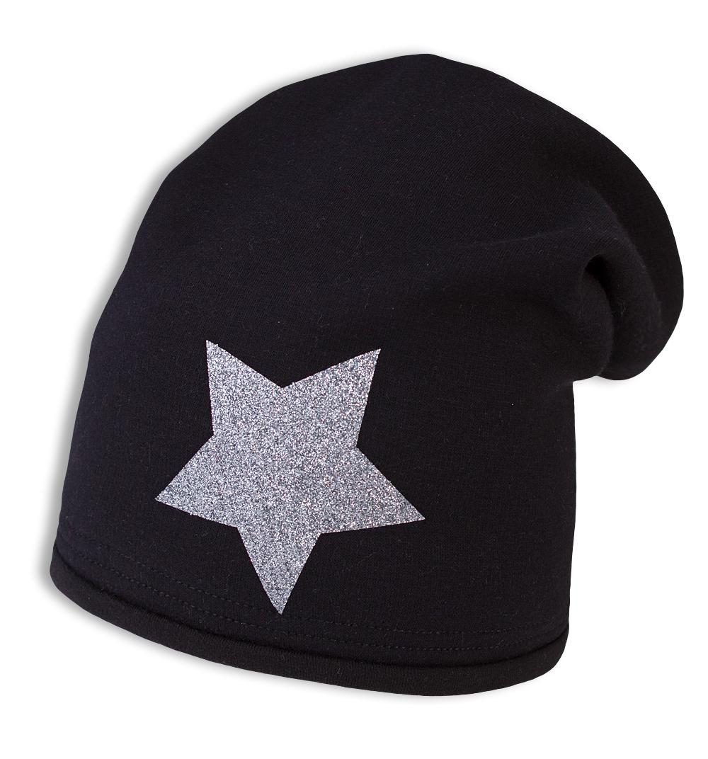 Dívčí zimní čepice YETTY HVĚZDA černá Velikost: 49-52