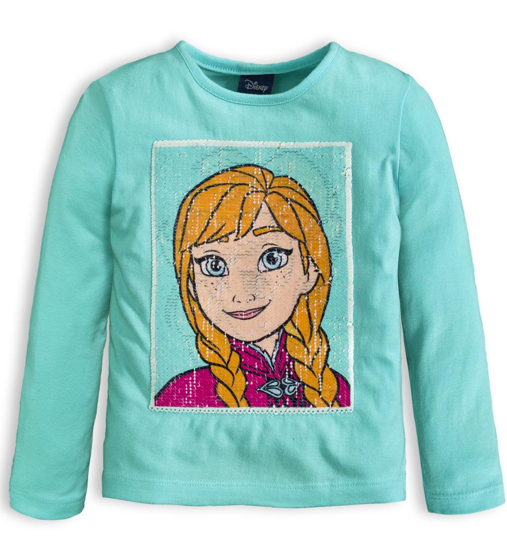 4b82218bd2e5 Dívčí tričko s měnícími flitry DISNEY FROZEN ANNA a ELSA modré Velikost  110