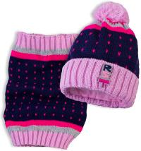 Dívčí čepice s nákrčníkem RASTER SLALOM růžová Velikost: 50-52
