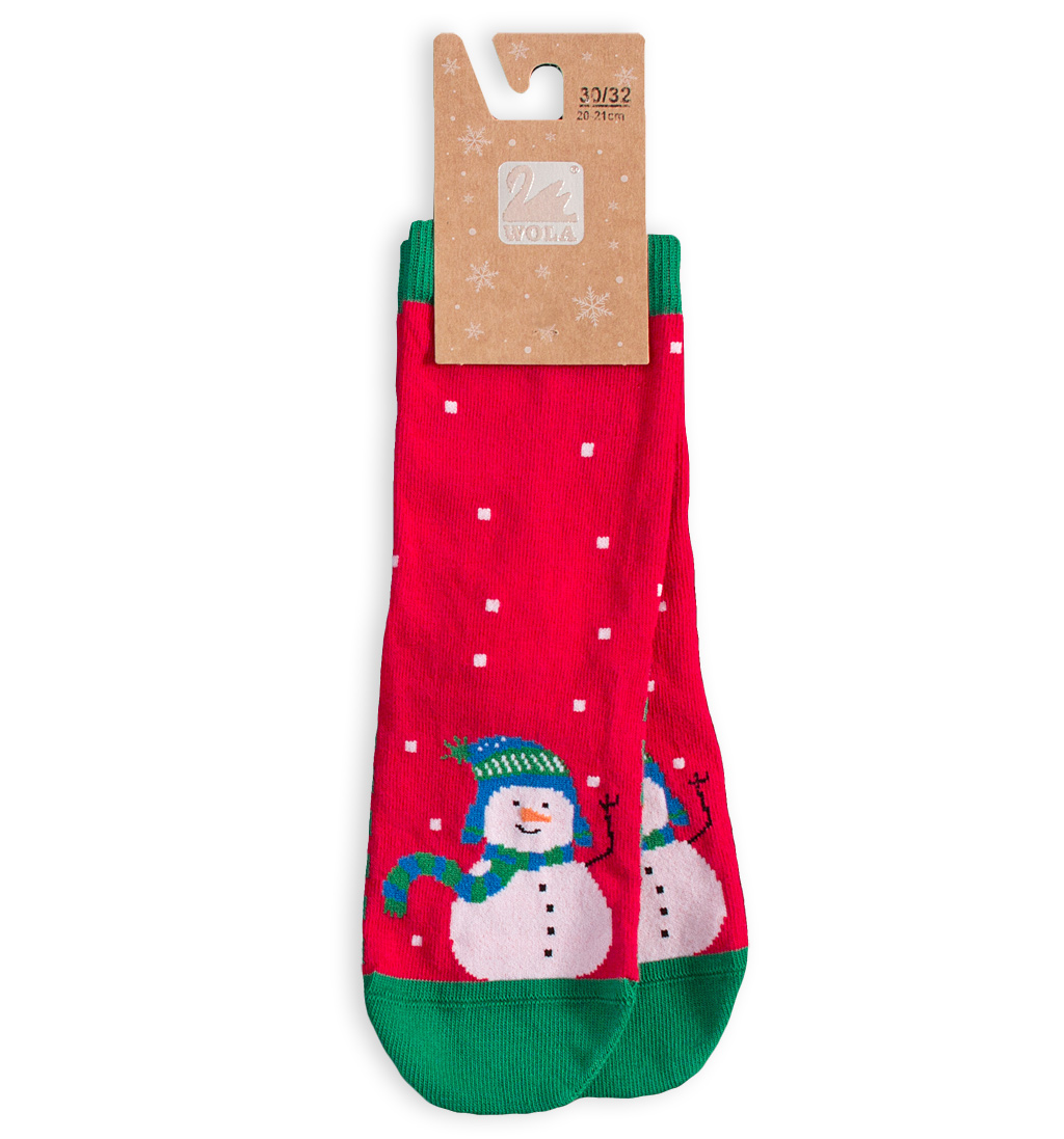 Dětské vánoční ponožky WOLA SNĚHULÁK červené Velikost: 27-29