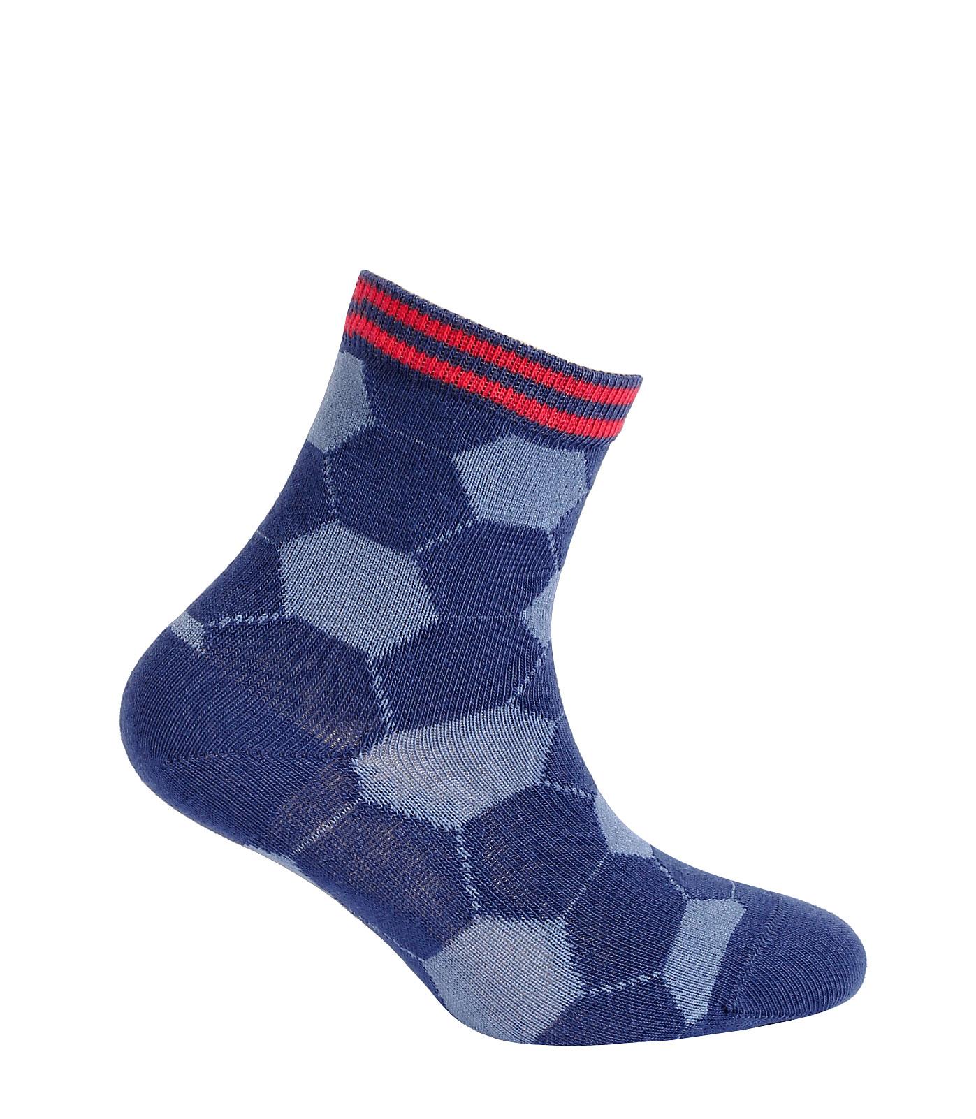 Chlapecké vzorované ponožky WOLA FOTBALOVÉ MÍČE modré Velikost: 21-23
