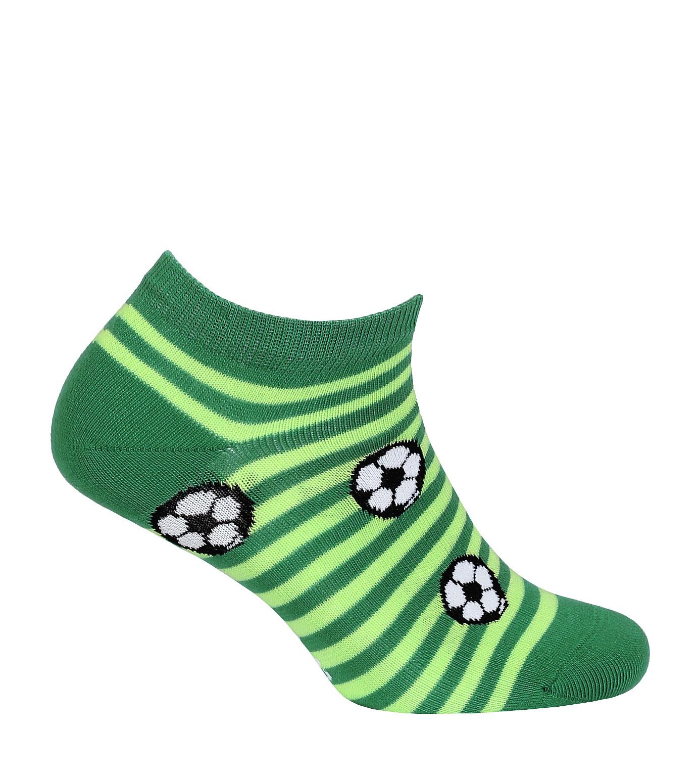 Chlapecké kotníkové ponožky WOLA FOTBALOVÉ MÍČE zelené Velikost: 24-26