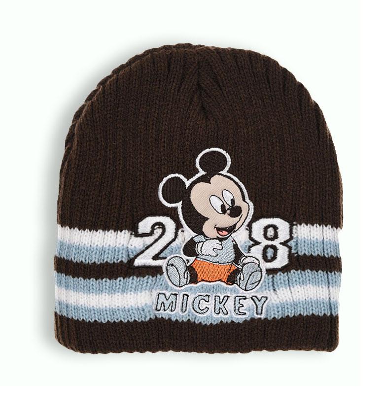 Chlapecká pletená čepice DISNEY MICKEY MOUSE BABY hnědá Velikost: 48 cm