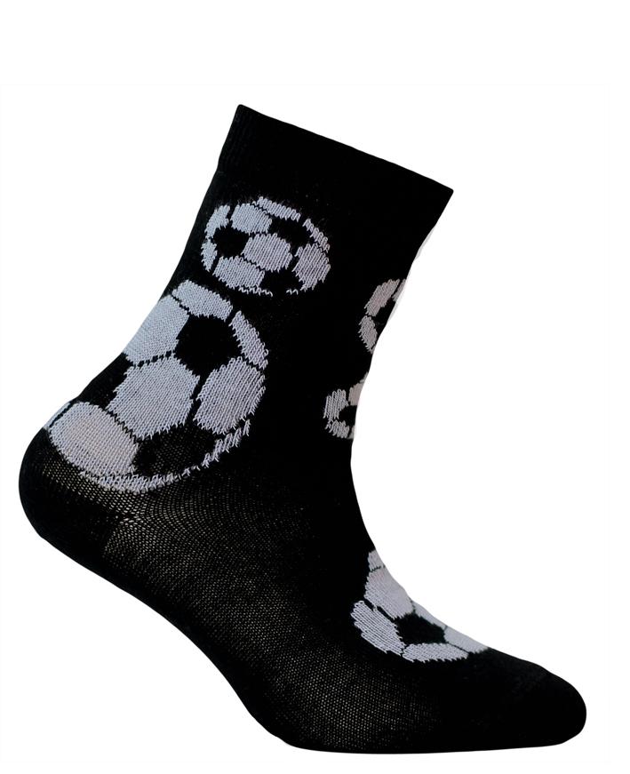 Chlapecké ponožky se vzorem WOLA FOTBALOVÉ MÍČE černé Velikost: 21-23