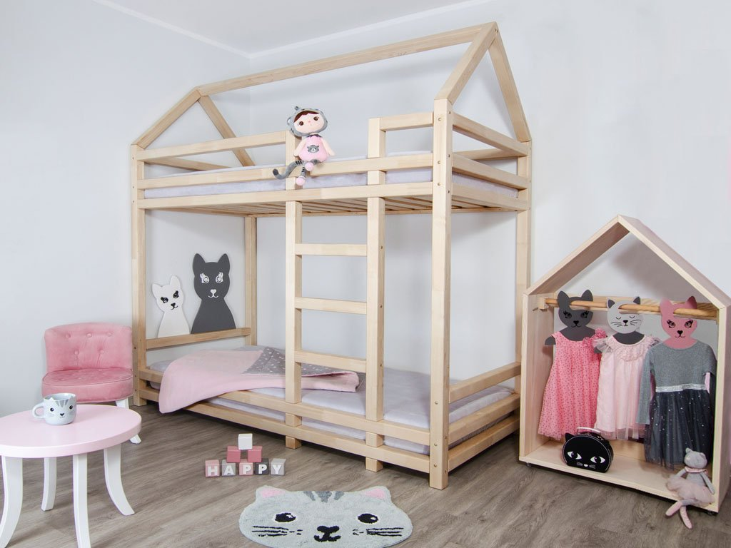 Wooden House Shaped Bunk Bed Twiny For Two Kids