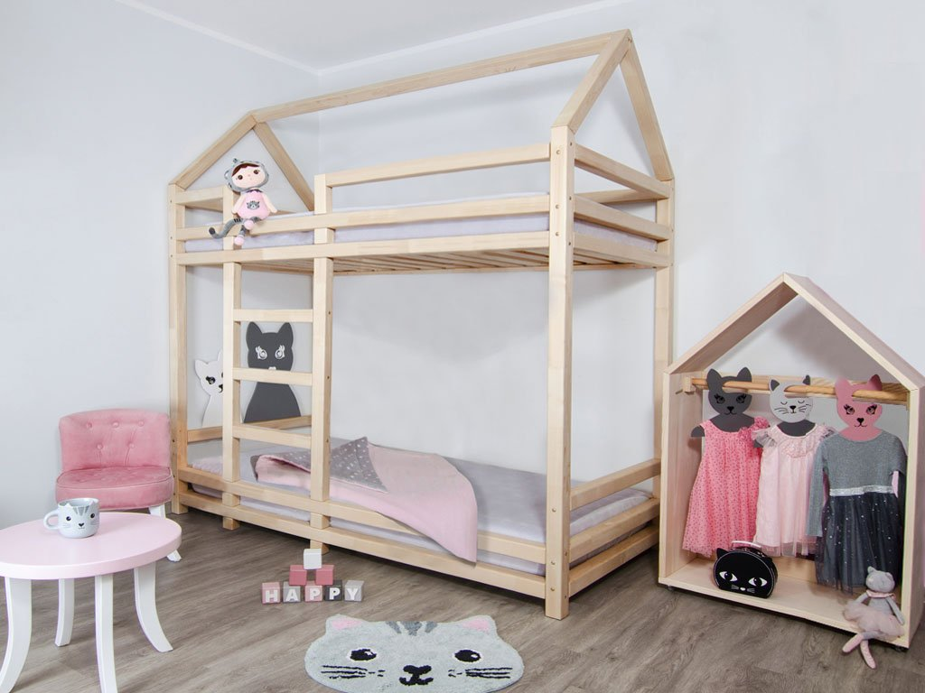 Picture of: Wooden House Shaped Bunk Bed Twiny For Two Kids