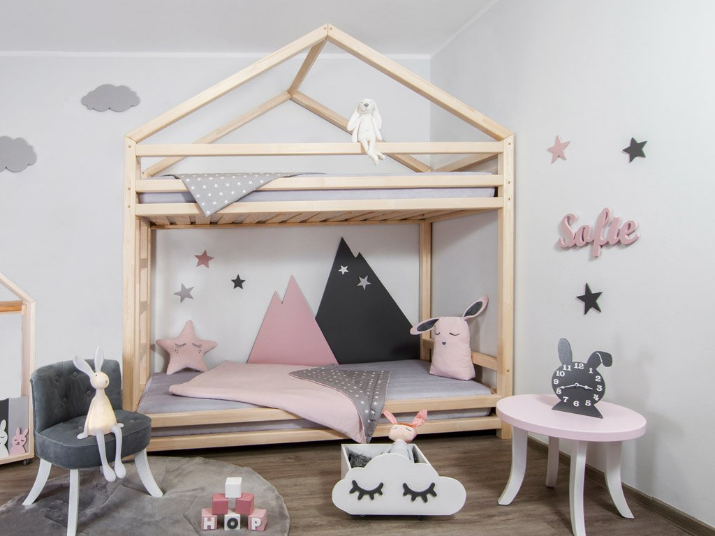 Children S Bunk Bed Cloudy With A Little Roof Made Of Solid Wood