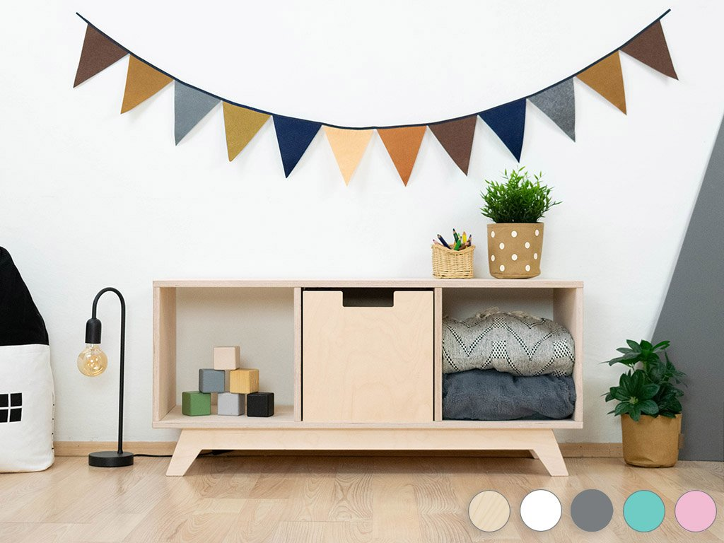 Wooden shelf NABOKSY 1x3 with base