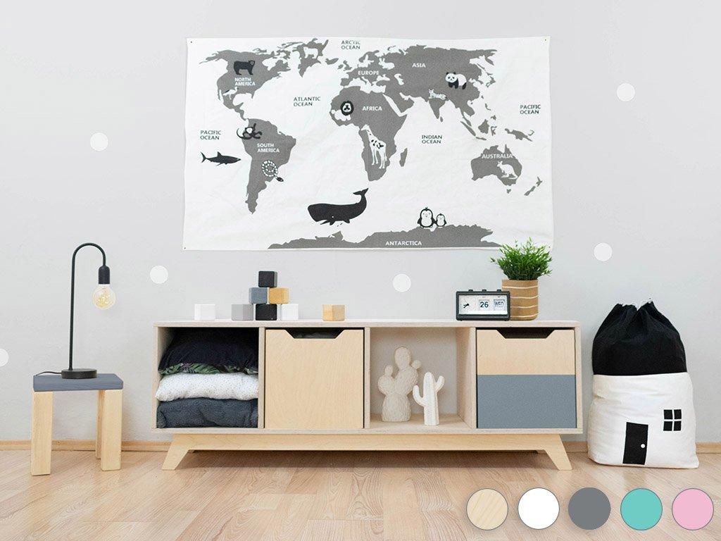 Wooden shelf NABOKSY 1x4 with base