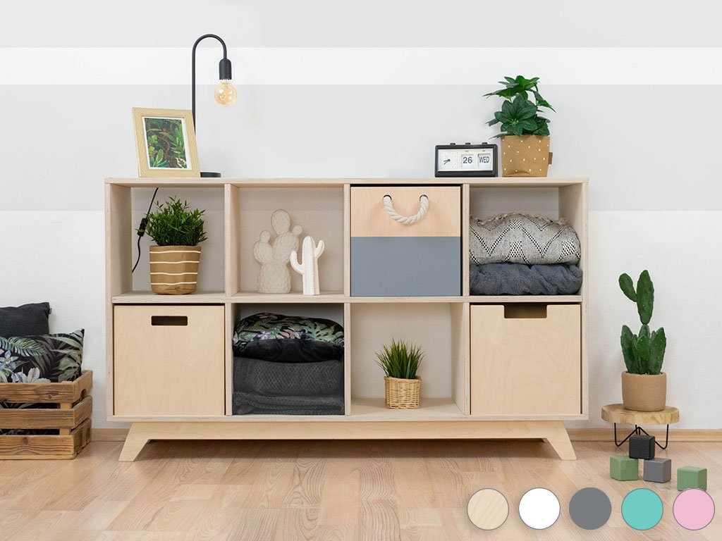 Wooden shelf NABOKSY 2x4 with base