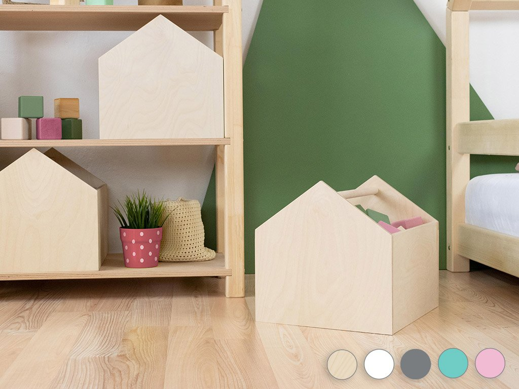 Wooden house-shaped storage box HOUSE