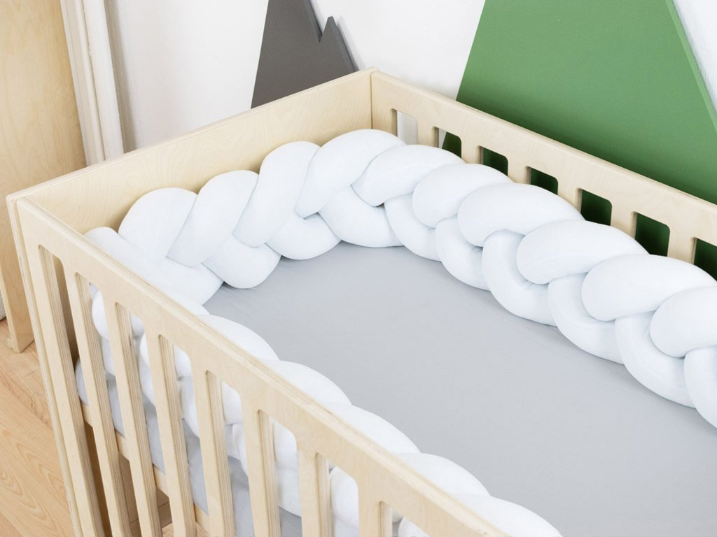 Braid-Shaped Cotton Cot Bumper Mimi White