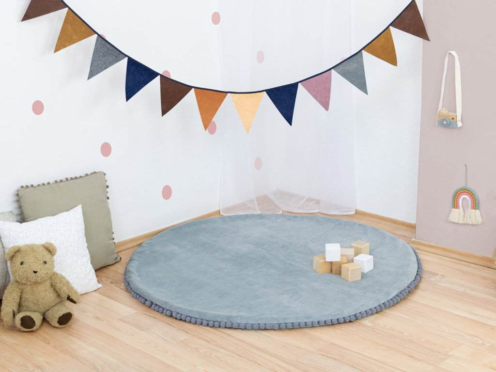 Plush Play Mat with Balls for Children and Babies Grey