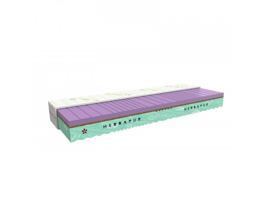 Health mattress HERBAPUR® OCEAN made from a memory foam containing lavender and seagrass