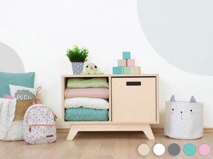 Wooden shelf NABOKSY 1x2 with base