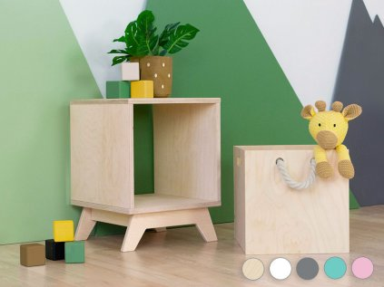 Wooden storage box BOKS for a shelving unit with a rope handle