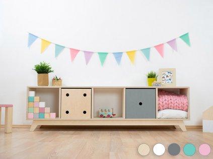 Wooden shelf NABOKSY 1x5 with base