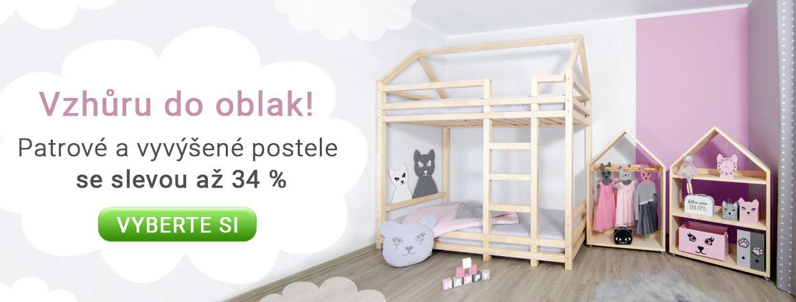 Patrové a vyvýšené postele se slevou až 34 %