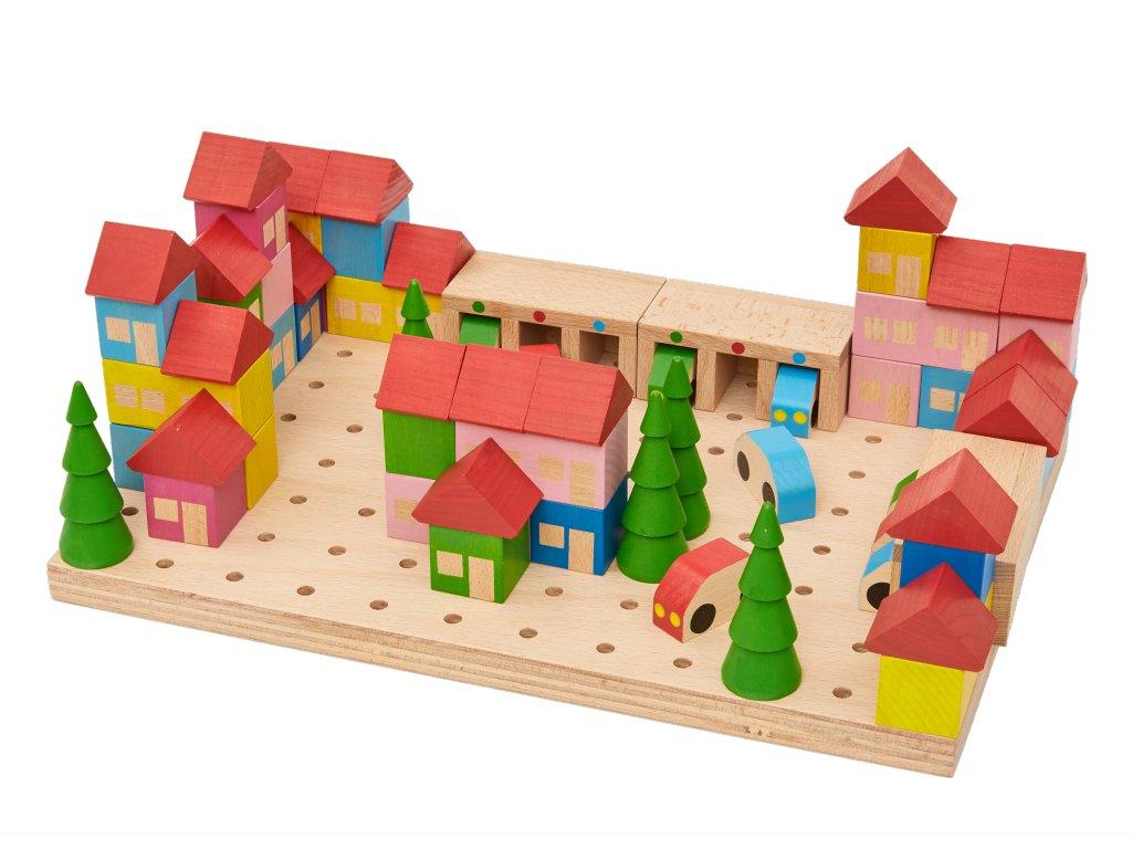 Dřevěná stavebnice MĚSTEČKO ze 67 dílů