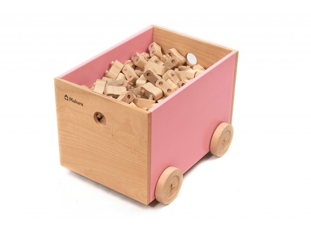 Dřevěný box na kolečkách pro ukládání stavebnice